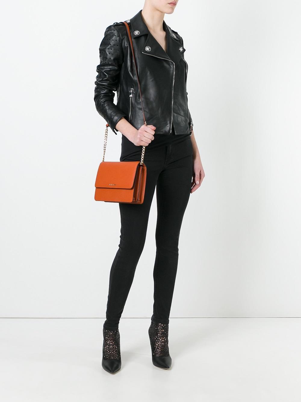 MICHAEL Michael Kors Leather Large Daniela Crossbody Bag in Yellow/Orange (Orange)