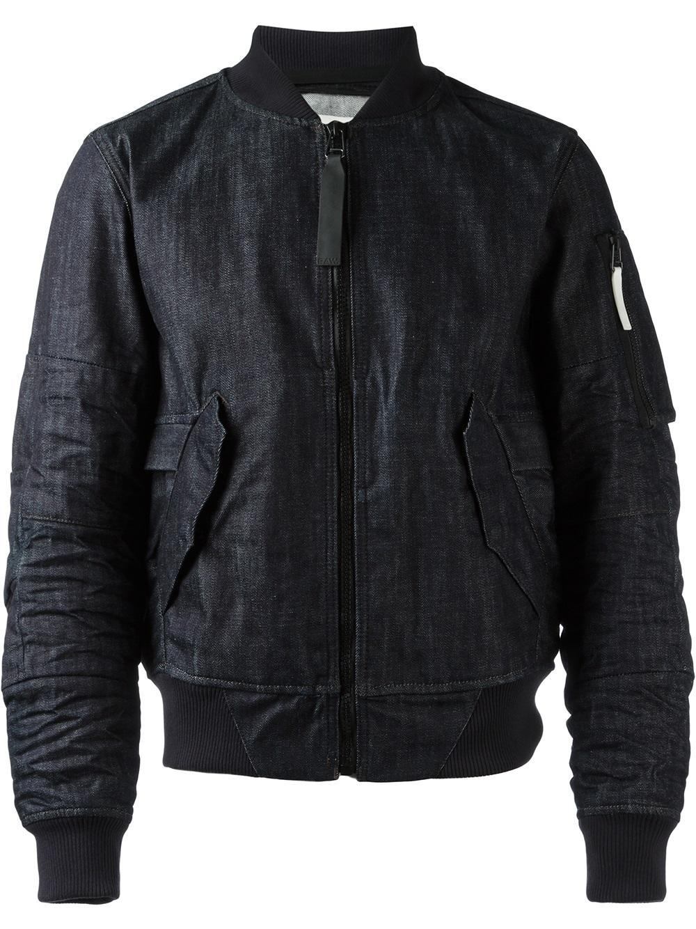 g star raw denim bomber jacket in blue for men lyst. Black Bedroom Furniture Sets. Home Design Ideas