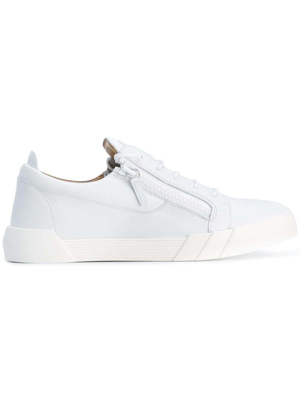 giuseppe zanotti zipped sneakers in white lyst