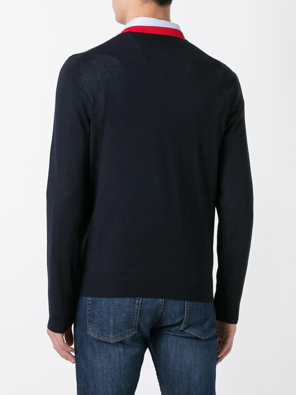 Lyst Gucci Bee Jacquard V Neck Wool Sweater In Blue For Men