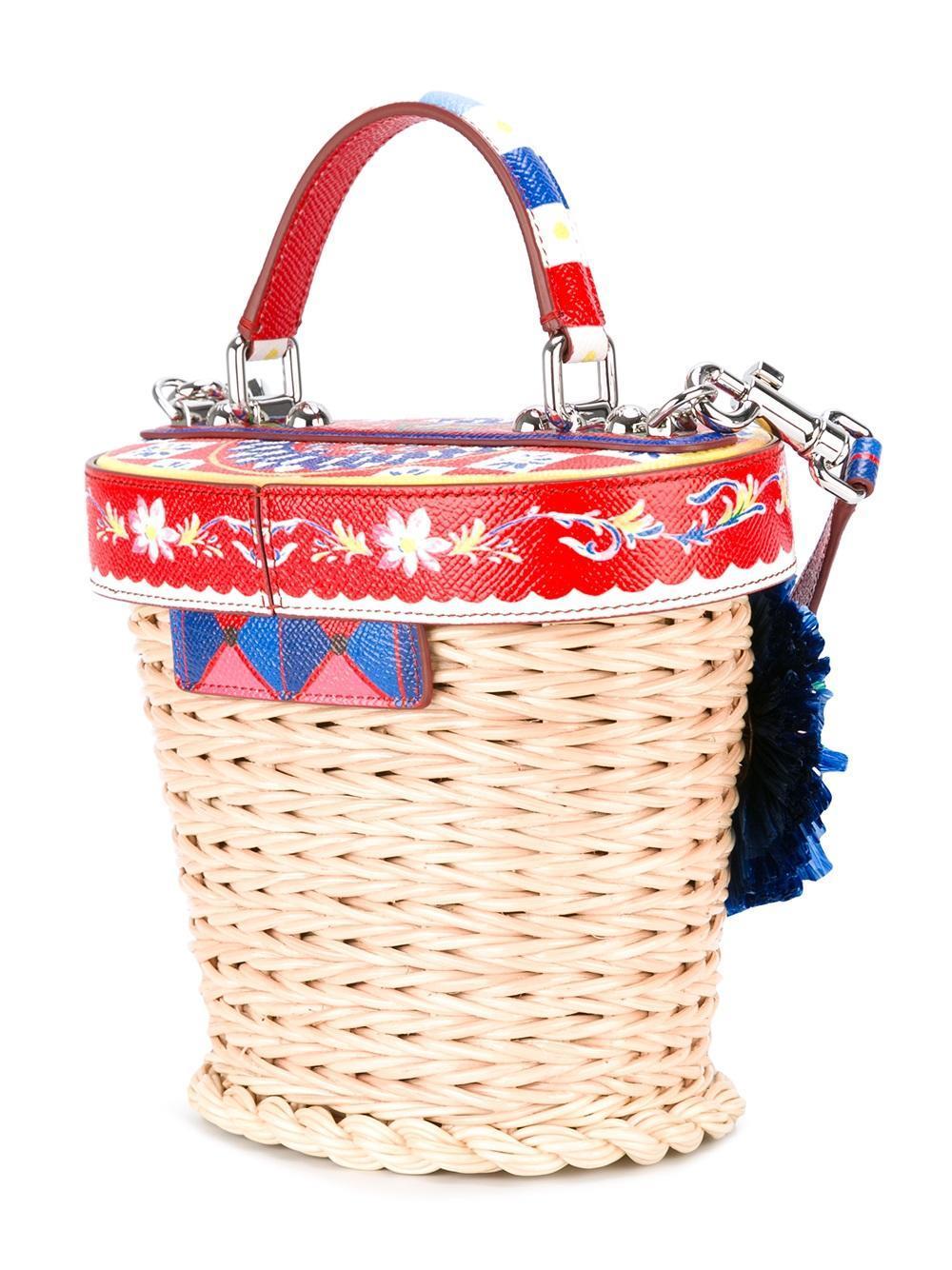 Dolce & Gabbana Leather Dolce Wicker Basket Tote