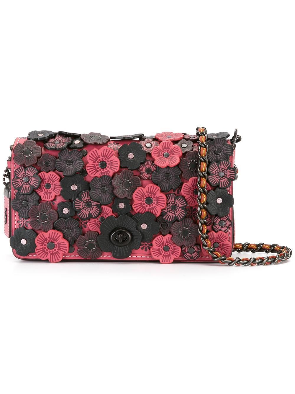 Lyst - Coach Flower Embellished Crossbody Bag In Pink