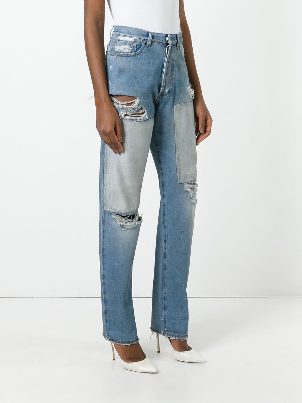 Faith Connexion Denim Ripped Boyfriend Jeans in Blue
