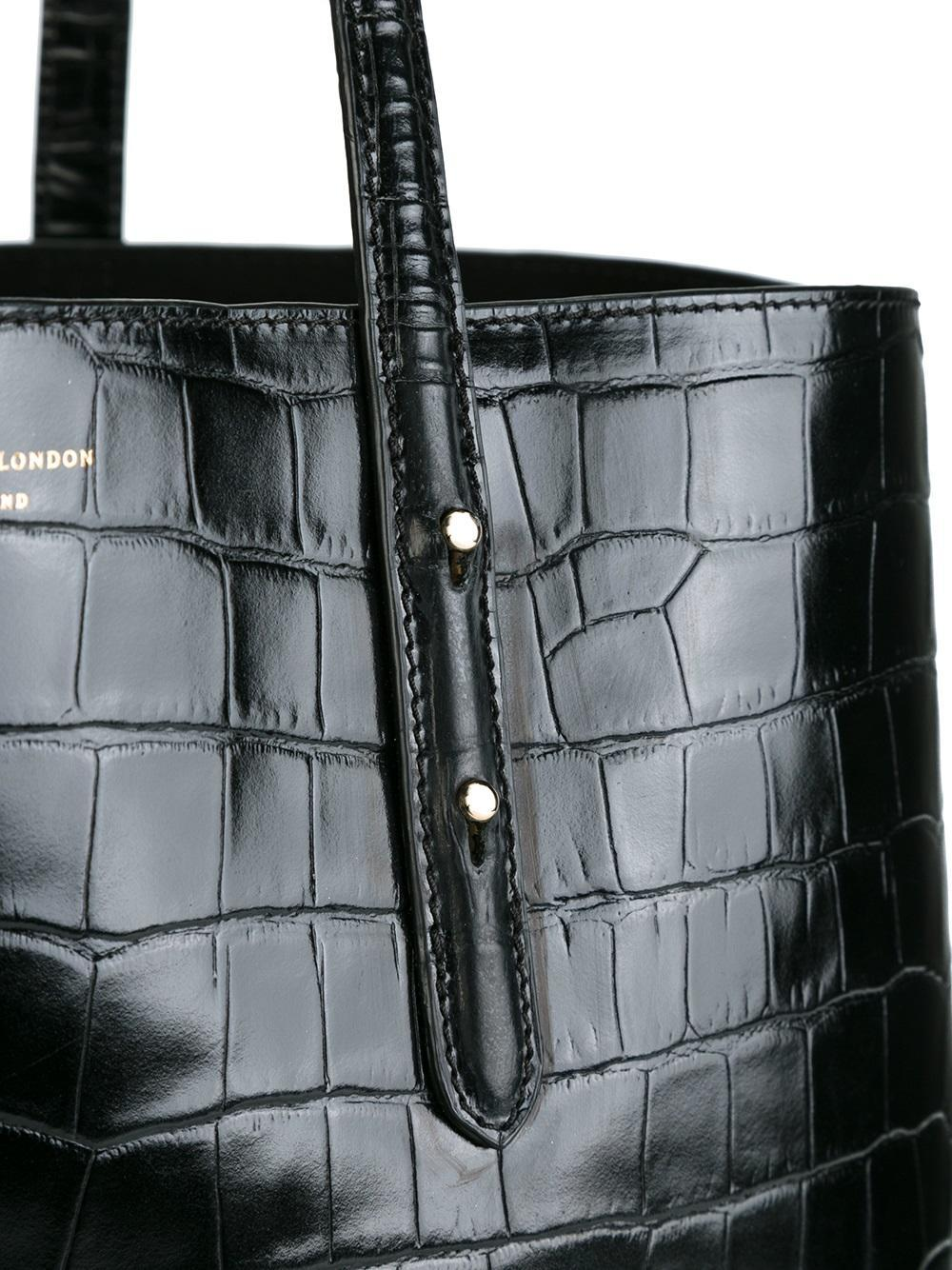 Aspinal of London Leather Regent Crocodile Effect Tote in Black