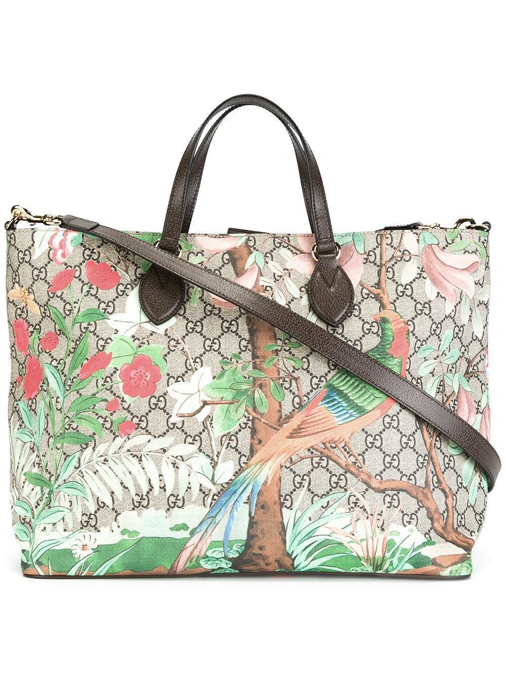 36dc0d74b Gucci Tian Gg Supreme Tote Bag in Brown - Lyst
