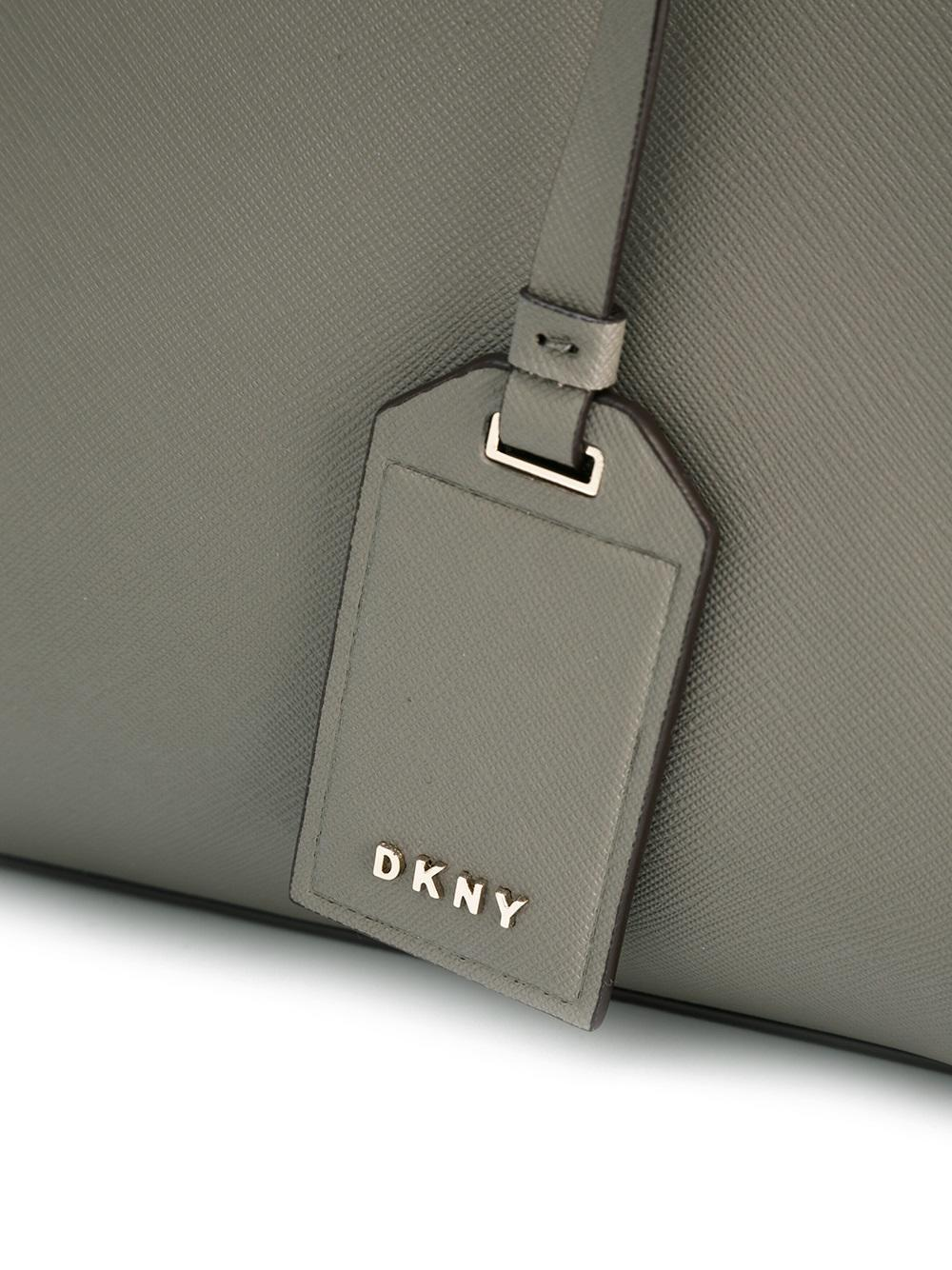DKNY Leather Mini Logo Tag Tote in Grey (Grey)