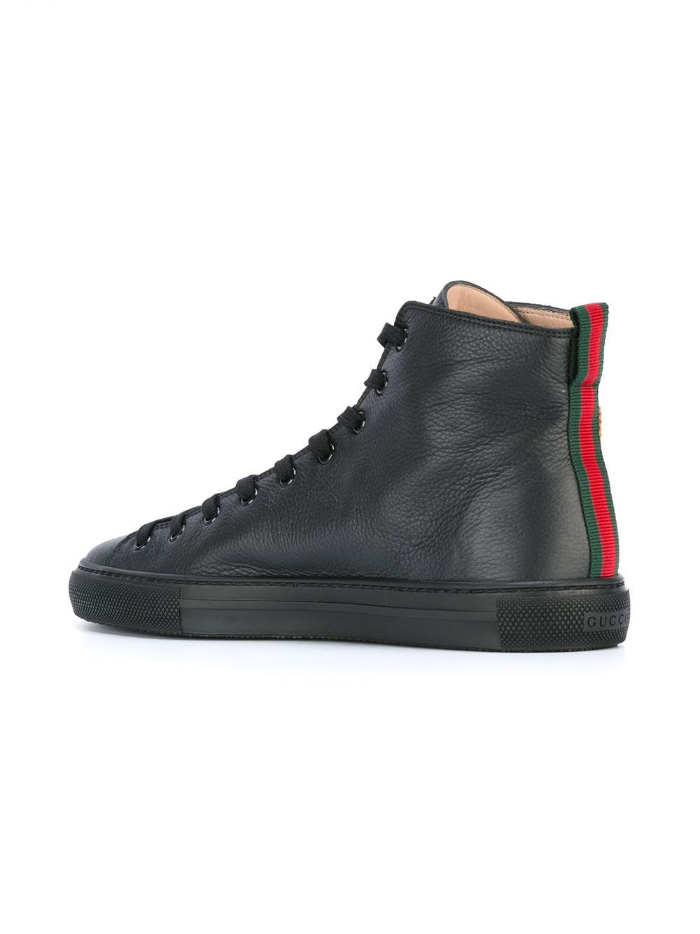 Gucci Leather Tiger Hi Top Sneakers In Black For Men Lyst