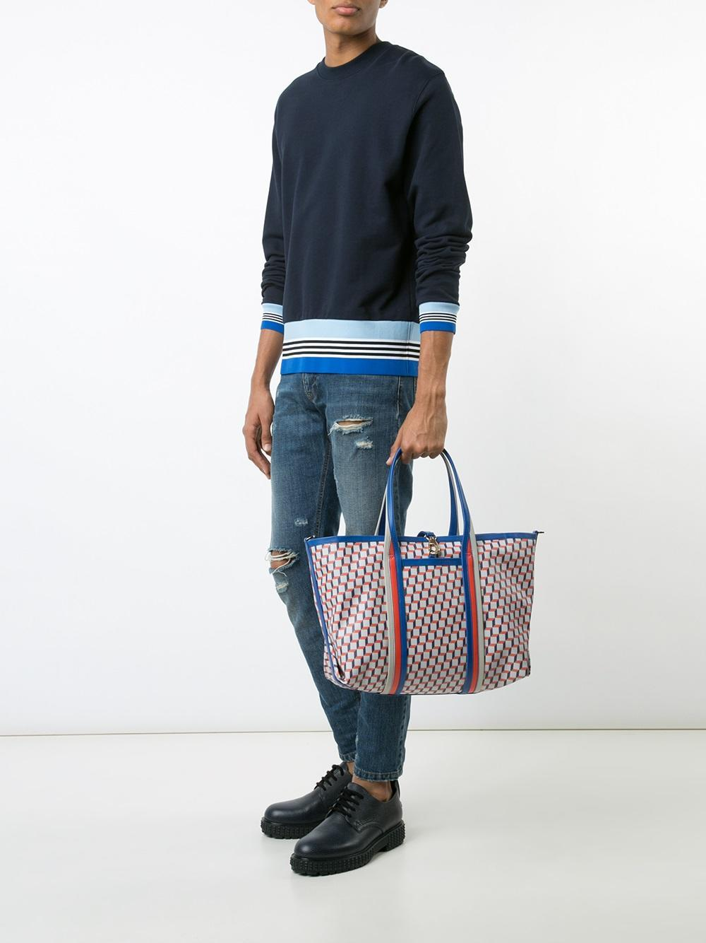 Pierre Hardy Leather Geometric Print Tote in Blue