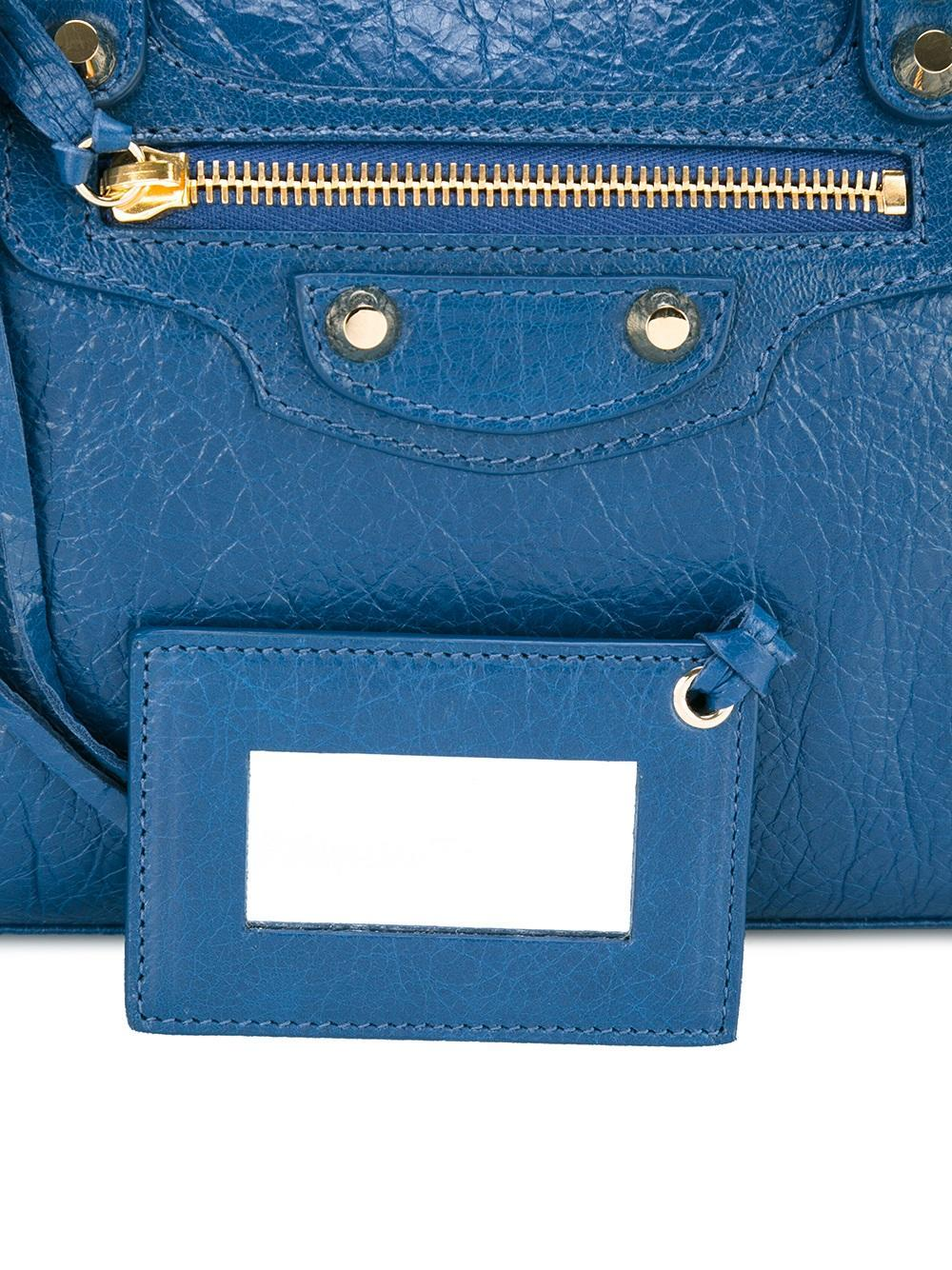 Balenciaga Leather - Removable Strap Tote - Women - Lamb Skin - One Size in Blue