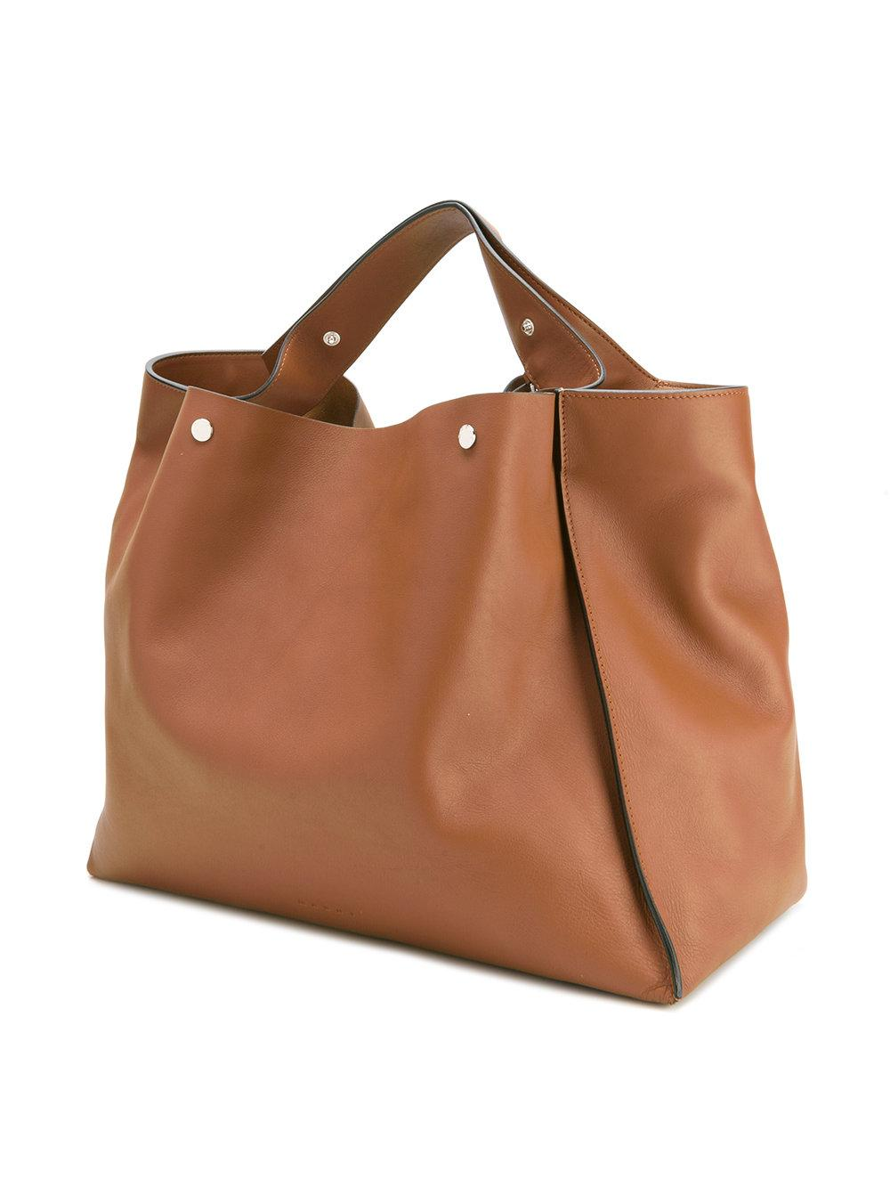 Marni Leather Voile Tote in Brown