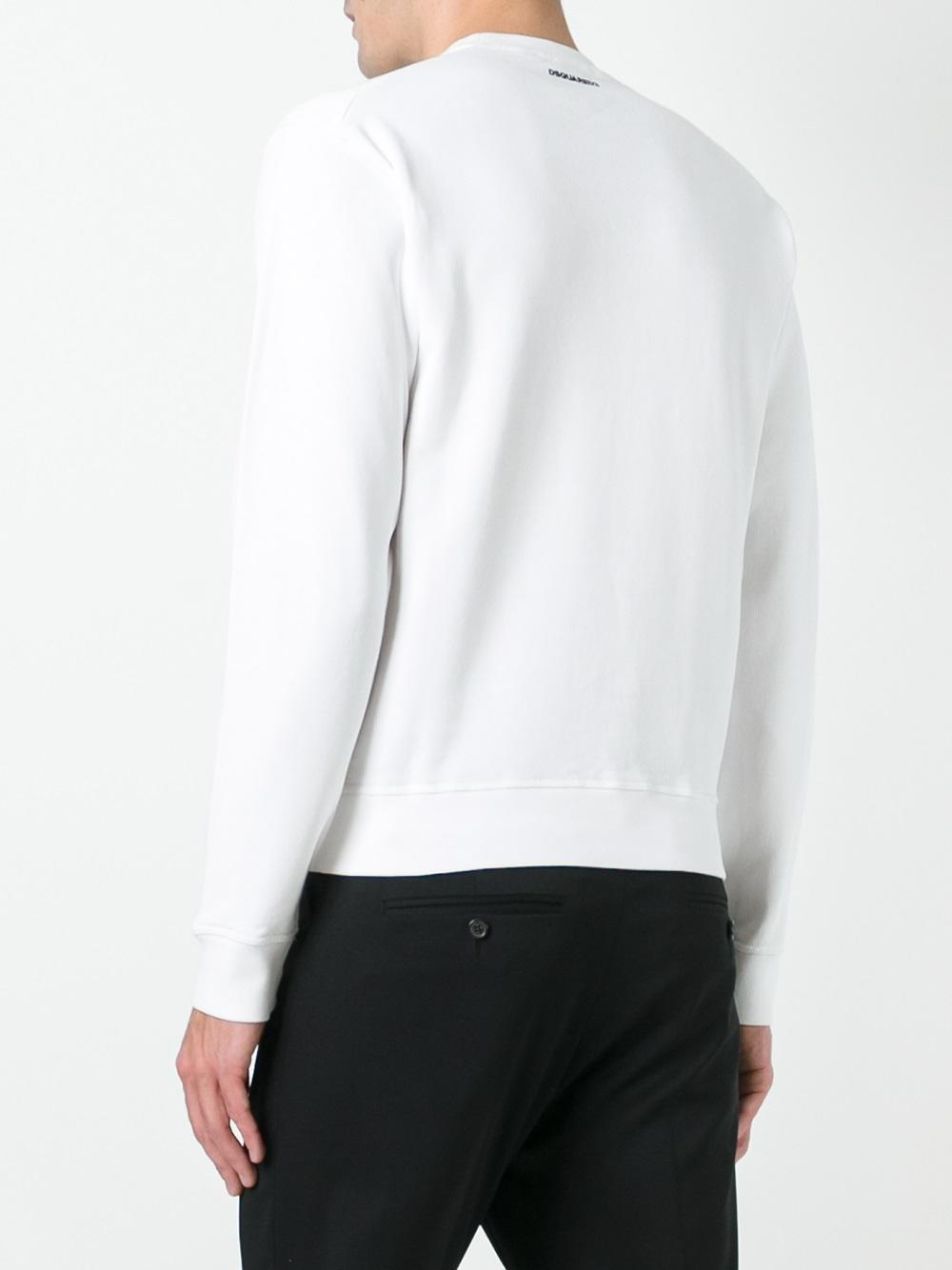 DSquared² Cotton 1964 Twins Printed Sweatshirt in White for Men