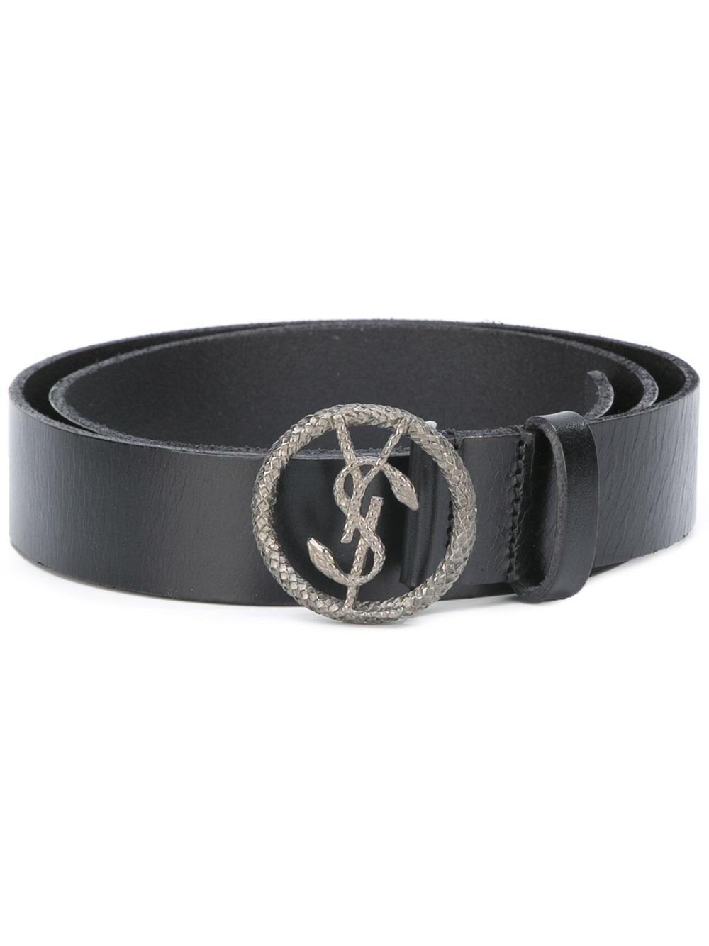 Lyst Saint Laurent Monogram Serpent Buckle Belt In Black