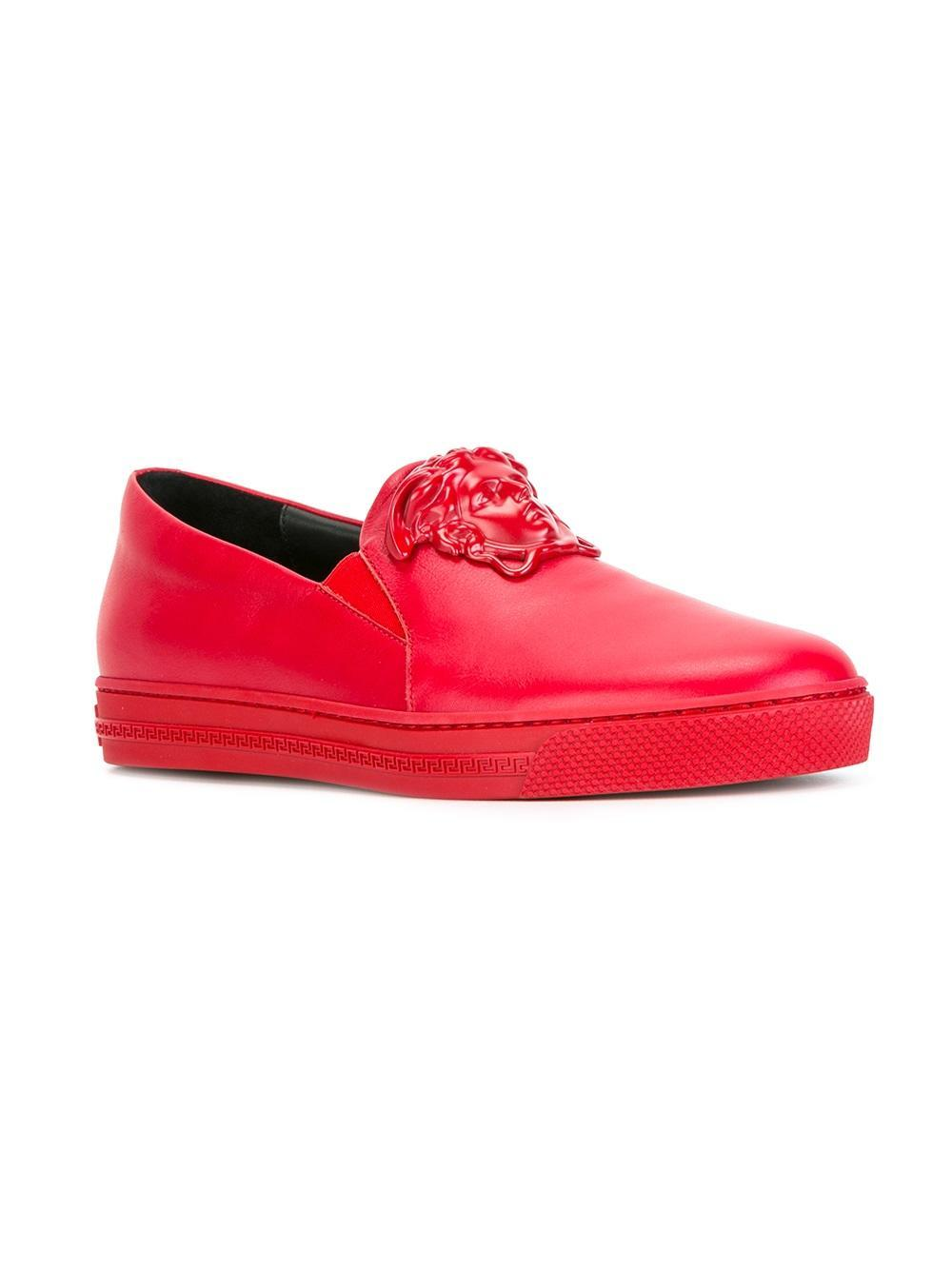 Lyst - Versace Palazzo Slip-on Sneakers in Red