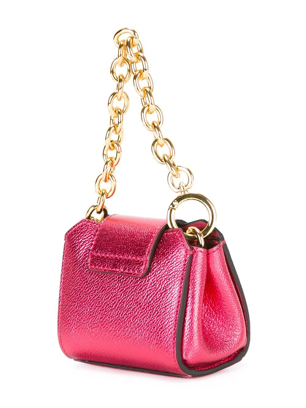 Burberry Leather Micro Buckle Tote in Pink/Purple (Pink)