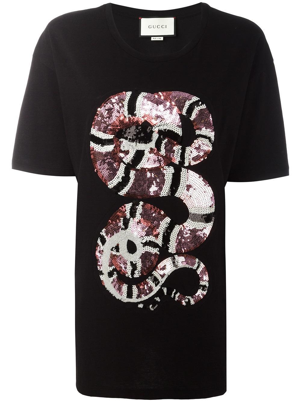 Lyst Gucci Snake Sequin Embellished T Shirt In Black