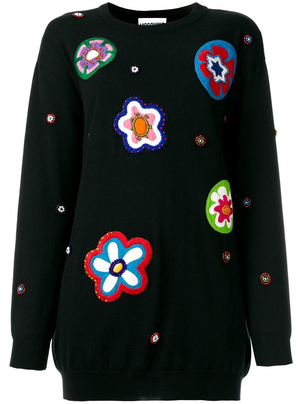 Moschino bead embroidered jumper in black lyst