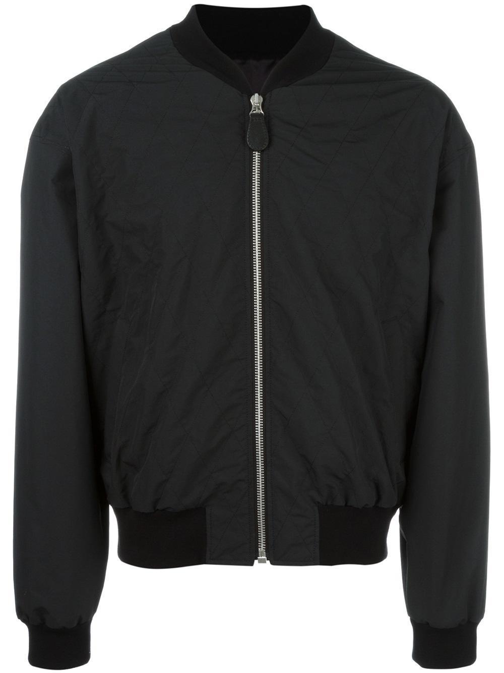 Maison Margiela Diamond Stitch Bomber Jacket In Black For
