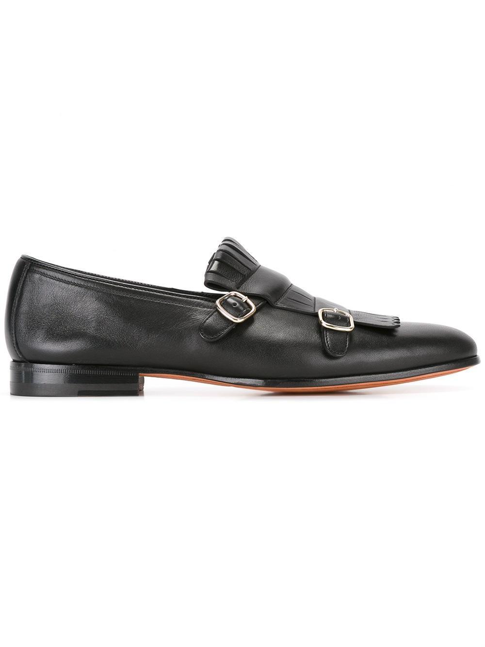 Santoni Fringed Monk Shoes in Black for Men
