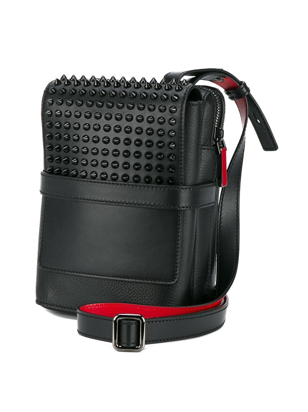 Christian Louboutin Spiked Reporter Bag In Black For Men