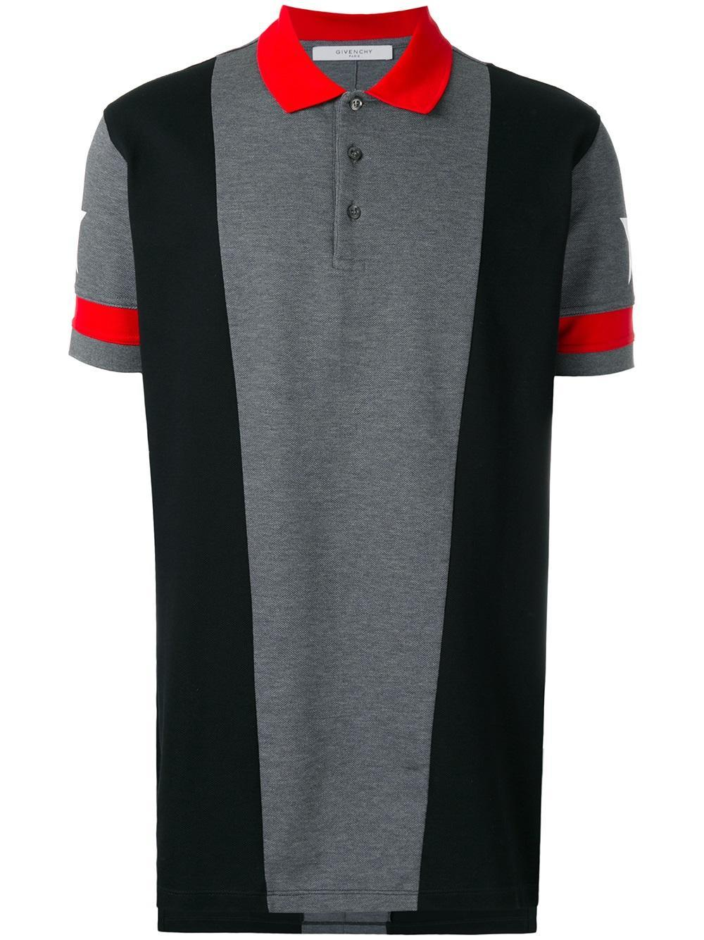 Givenchy star print paneled polo shirt in gray for men lyst for Givenchy 5 star shirt
