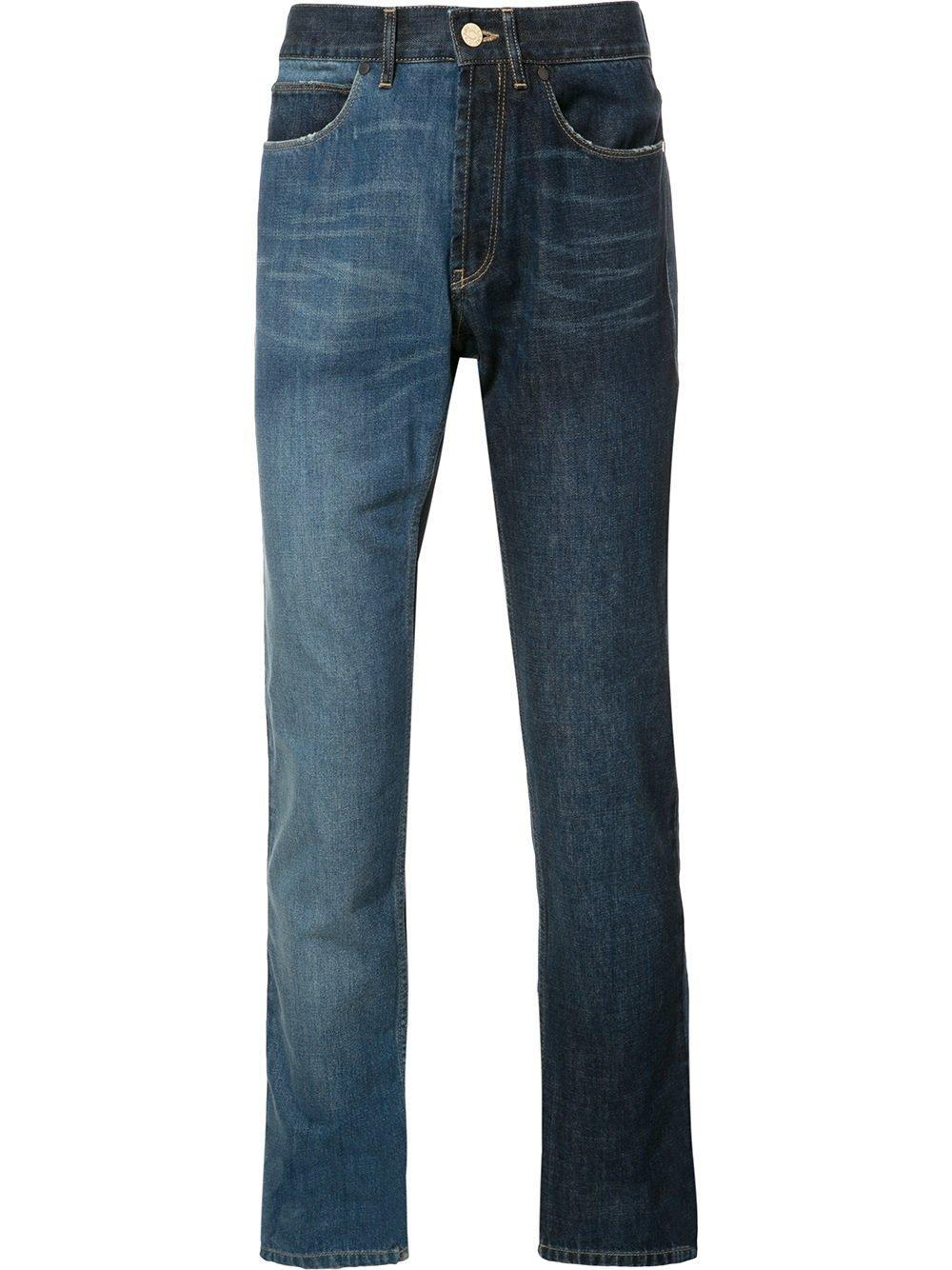 Lanvin Two tone Contrast Skinny Jeans In Blue For Men Lyst