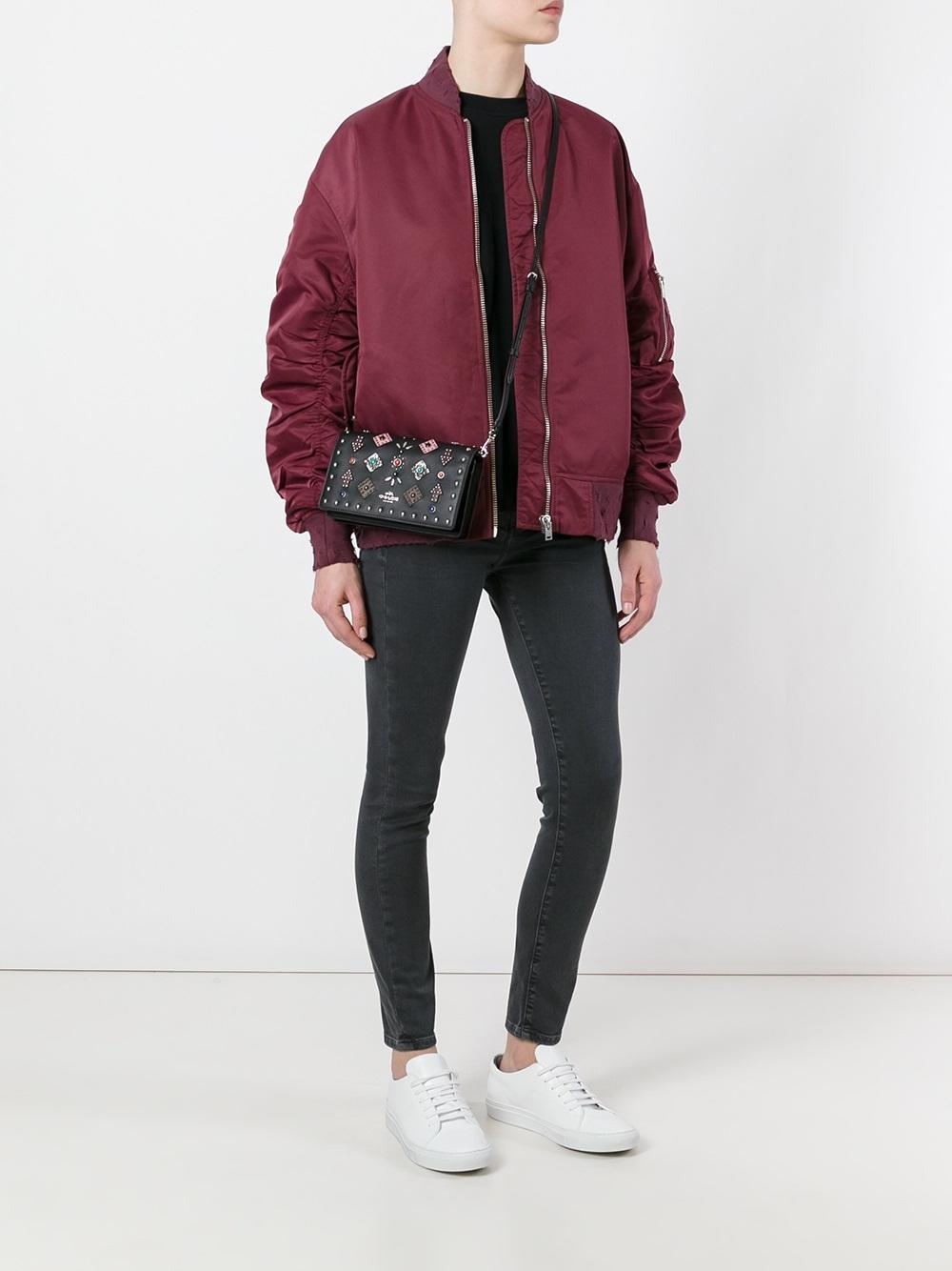 COACH Leather Western Rivet Crossbody Bag in Black