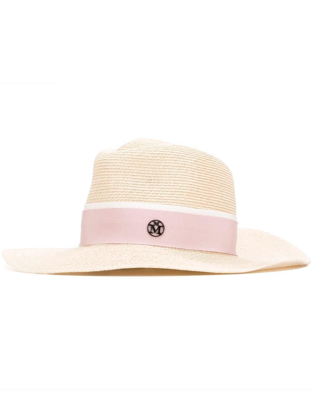 Lyst maison michel 39 charles 39 hat in natural for Maison michel