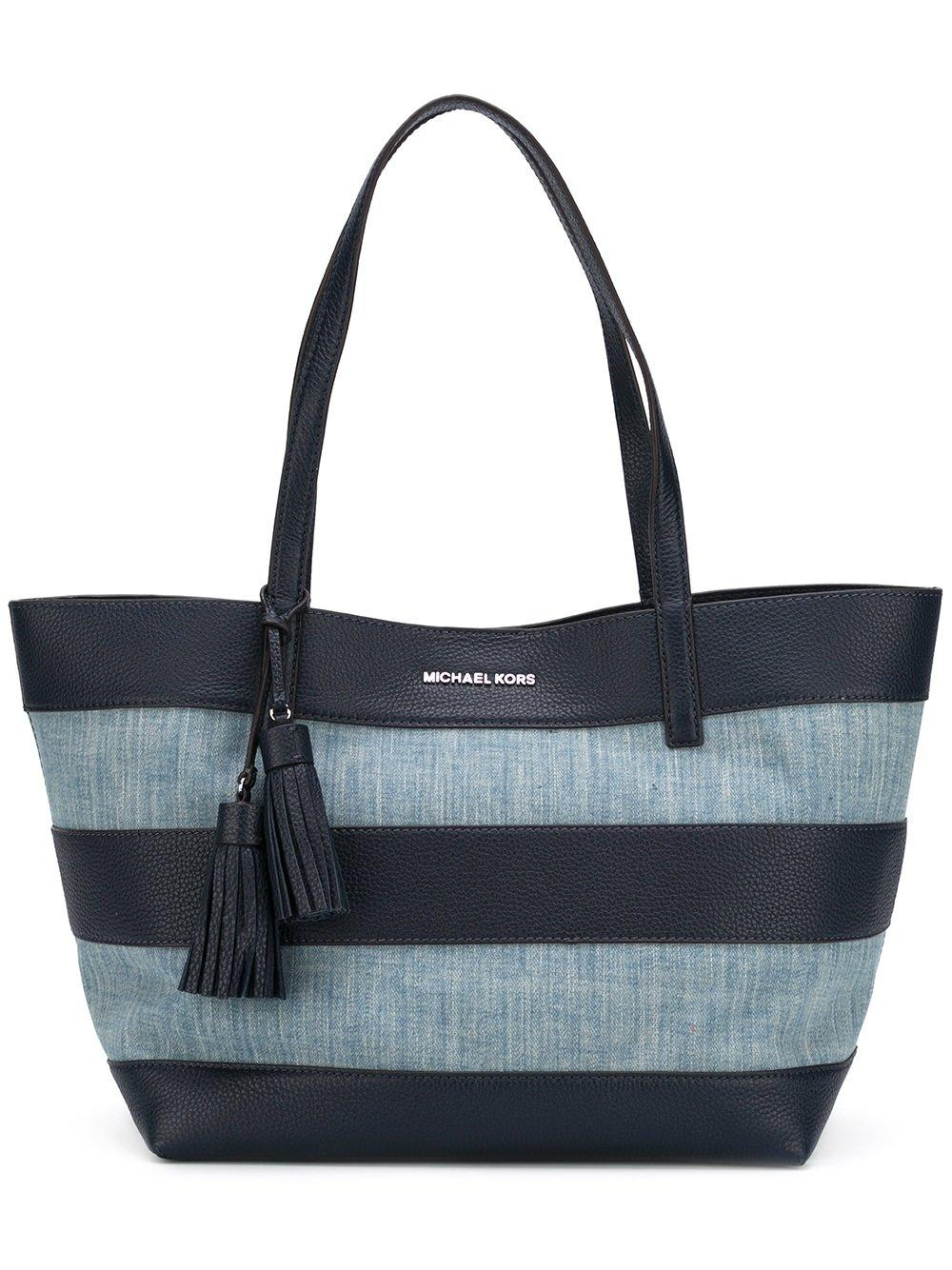 michael michael kors striped shopper tote in blue lyst. Black Bedroom Furniture Sets. Home Design Ideas