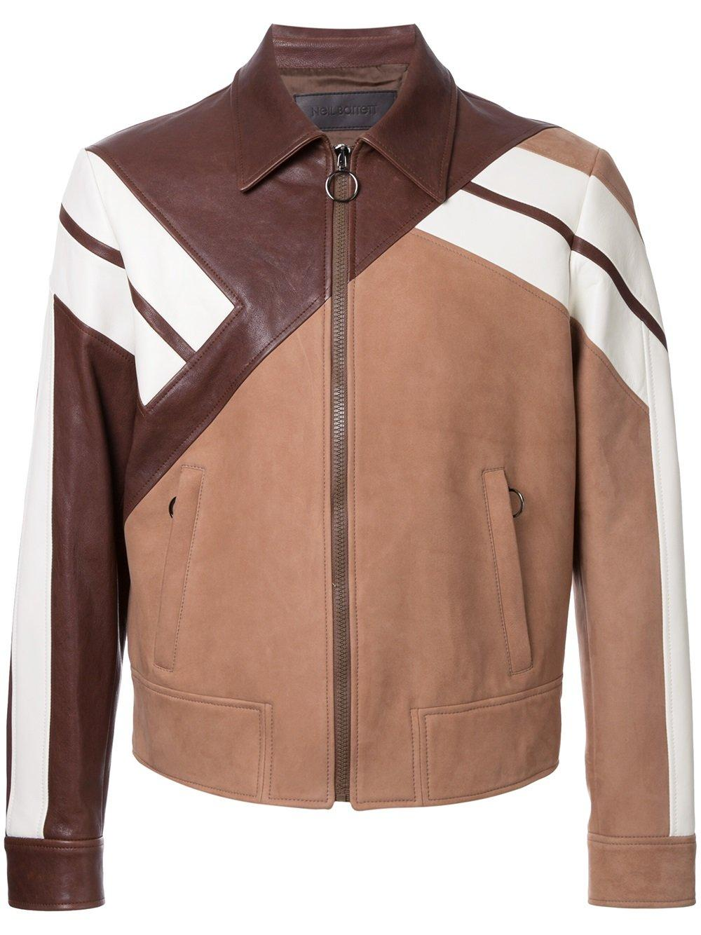 Neil barrett geometric pannelled jacket in brown for men for Mens chocolate brown dress shirt