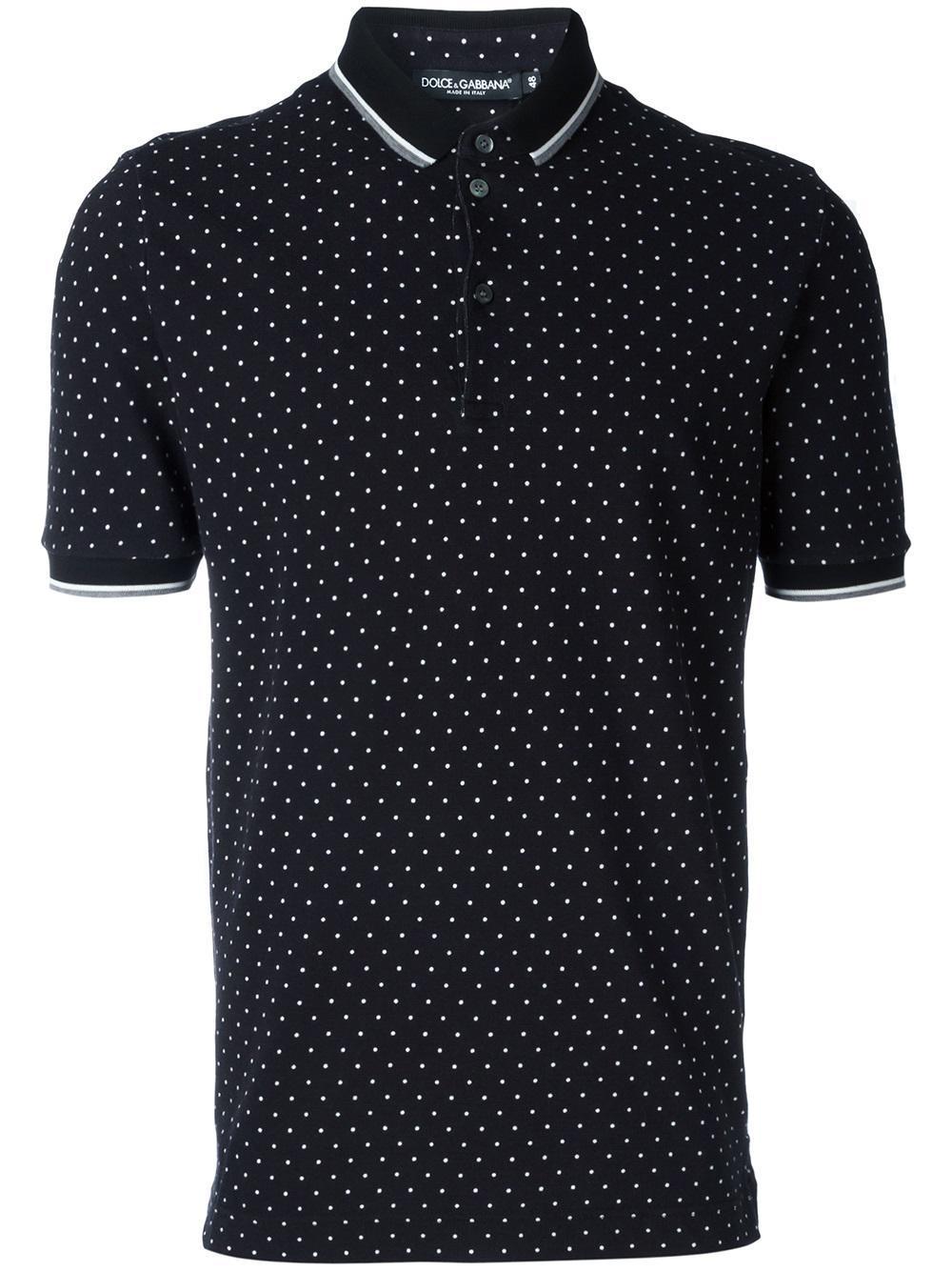Lyst Dolce Amp Gabbana Polka Dot Polo Shirt In Black For Men