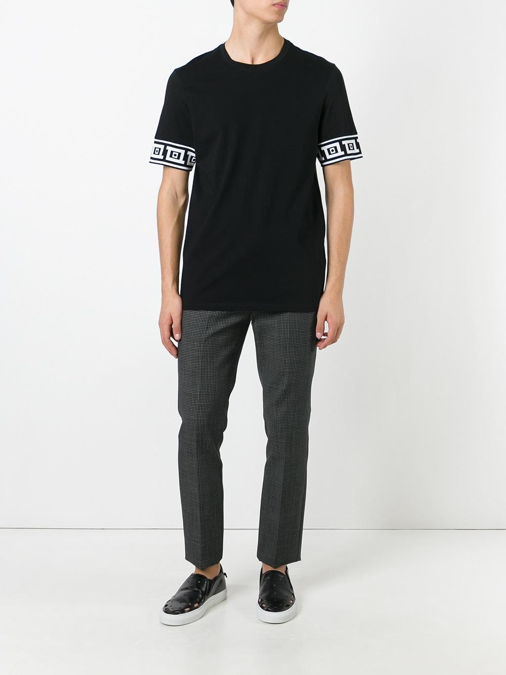 Versace Printed Detail T Shirt In Black For Men Lyst