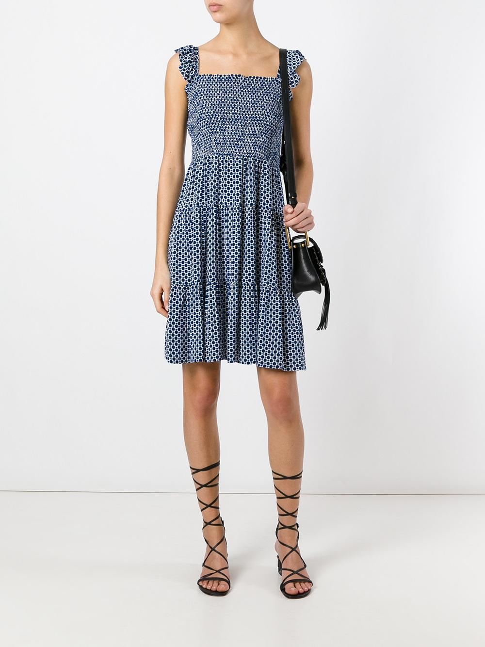 Lyst tory burch printed tier dress in blue for Tory burch fashion island
