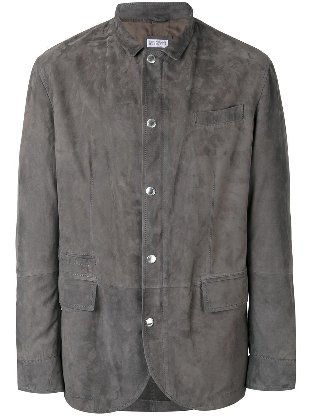 Lyst Brunello Cucinelli Suede Jacket In Gray For Men