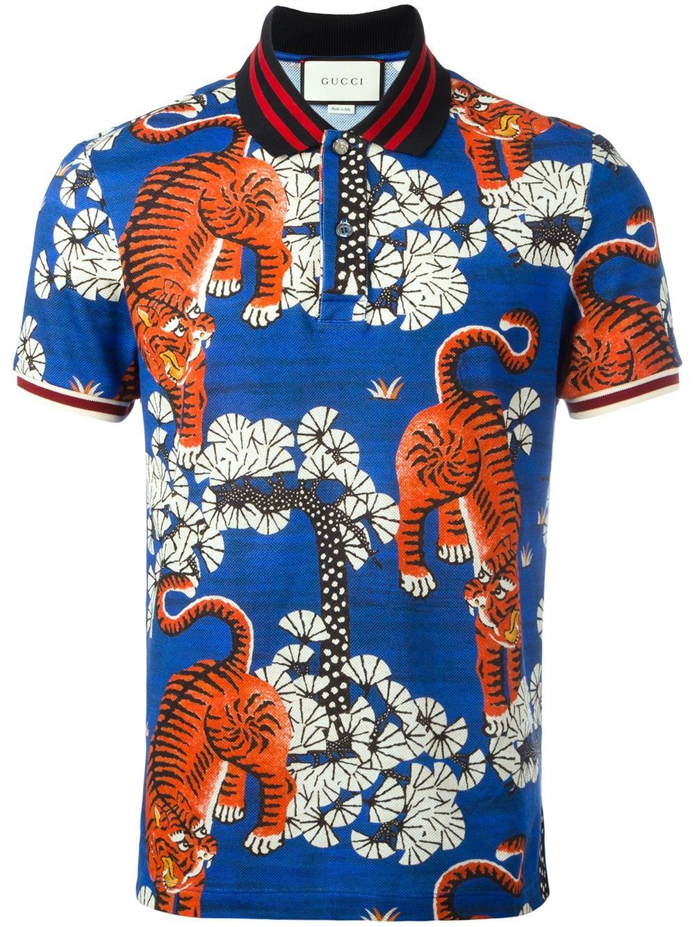 Gucci Bengal Print Polo In Blue For Men Lyst
