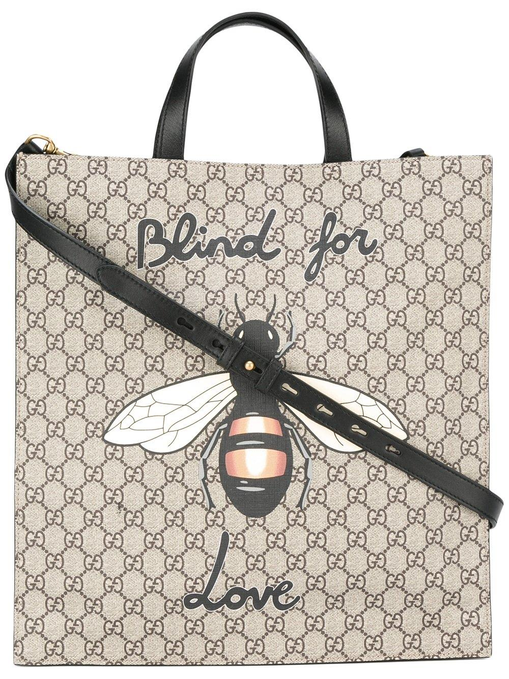 9ce5a315 Gucci Brown Bee Print Soft Gg Supreme Tote for men