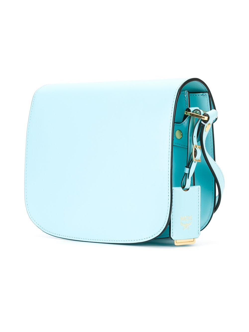 MCM Leather Fold-over Closure Crossbody Bag in Blue