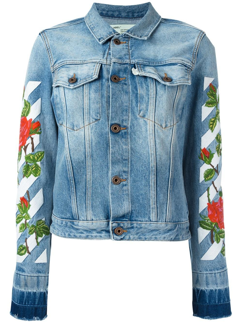 Off white c o virgil abloh roses embroidery denim jacket