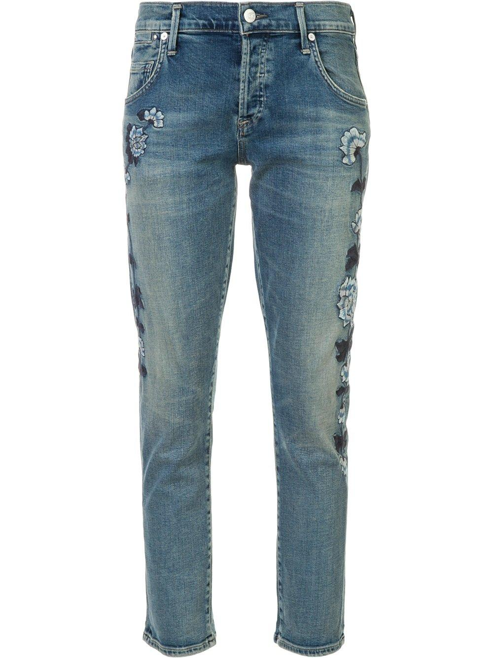 lyst citizens of humanity embroidered cropped jeans in blue. Black Bedroom Furniture Sets. Home Design Ideas