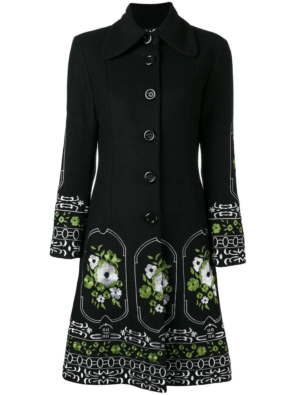 Dolce Amp Gabbana Flower Embroidered Coat In Black Lyst