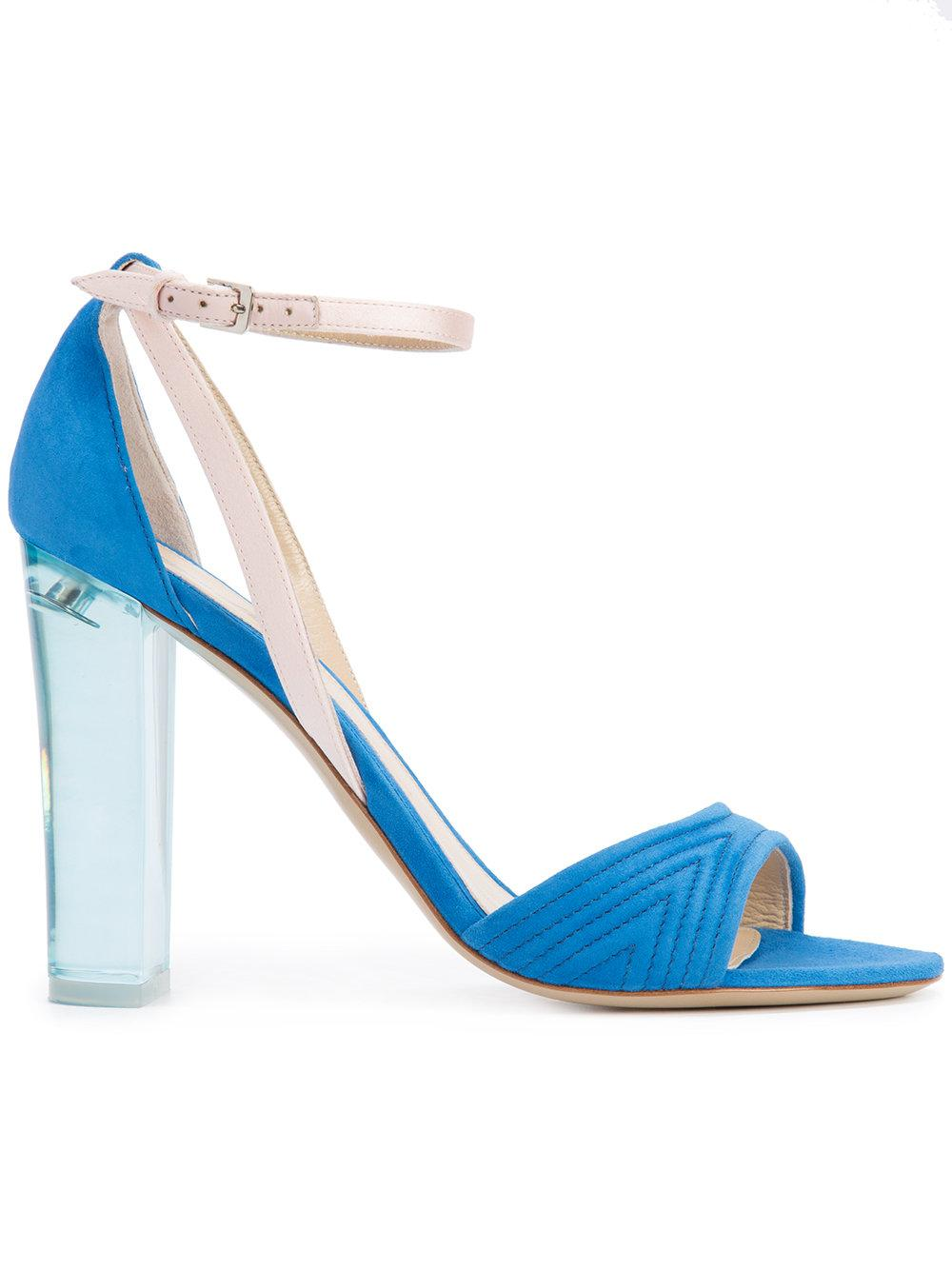 Lyst Monique Lhuillier Clear Heel Sandals In Blue