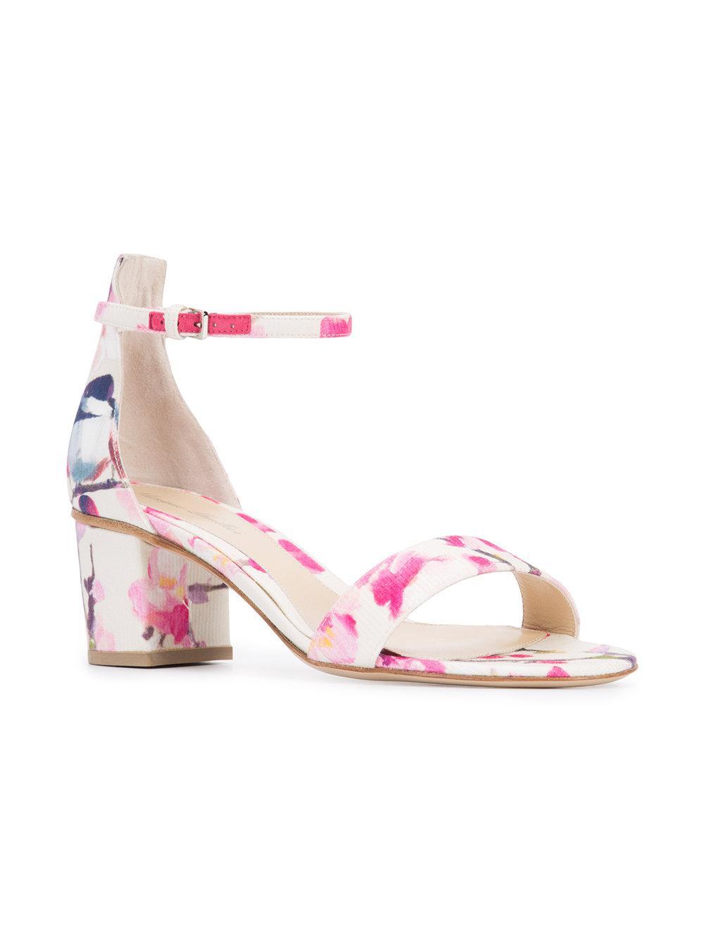 Lyst Monique Lhuillier Floral Print Sandals In White