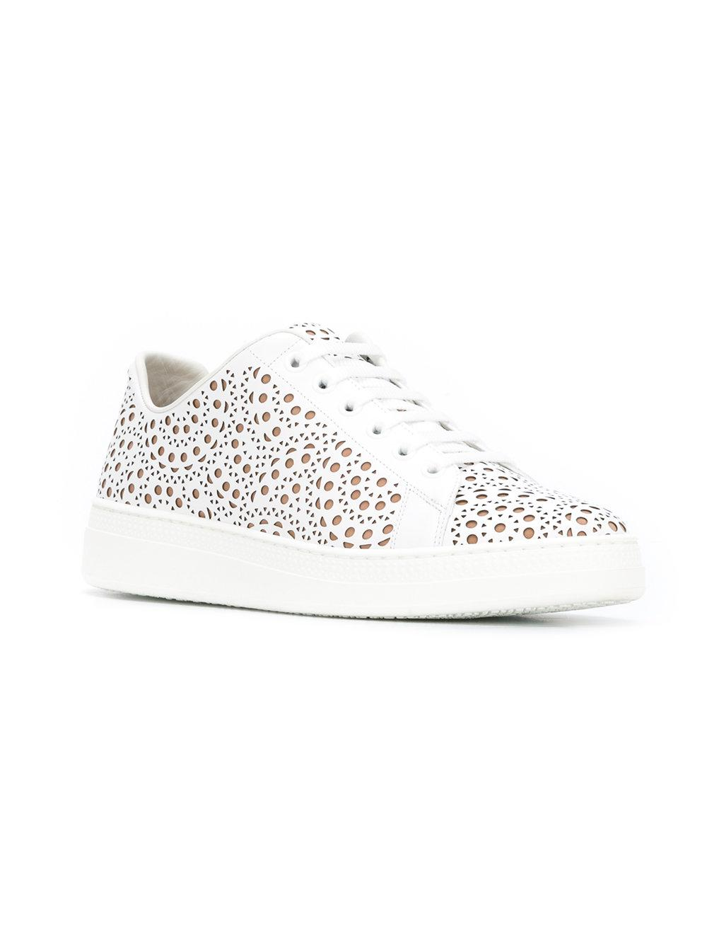 Alaïa Leather Perforated Detail Lace Up Trainers in White