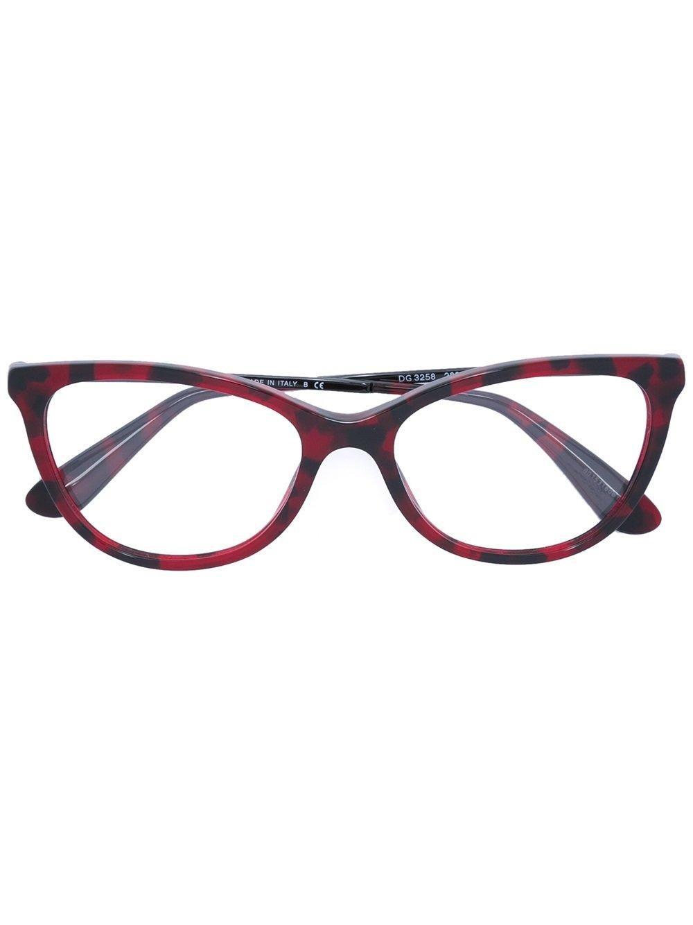 Dolce Amp Gabbana Cat Eye Frame Glasses In Red Lyst
