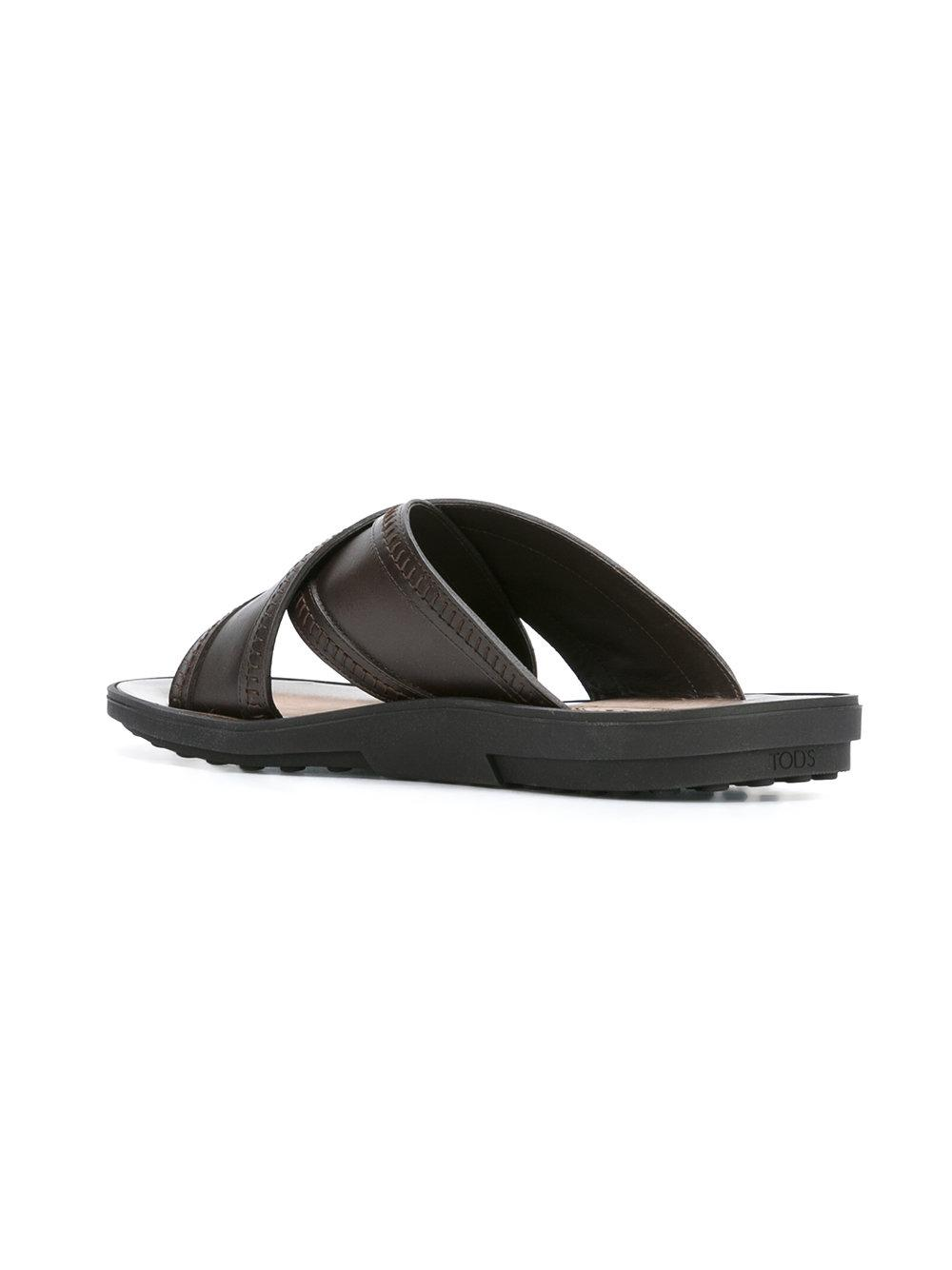 Tod S Leather Slider Sandals In Brown For Men Lyst