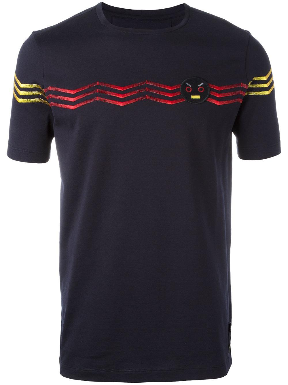 Lyst Fendi No Words Embroidered T Shirt In Blue For Men