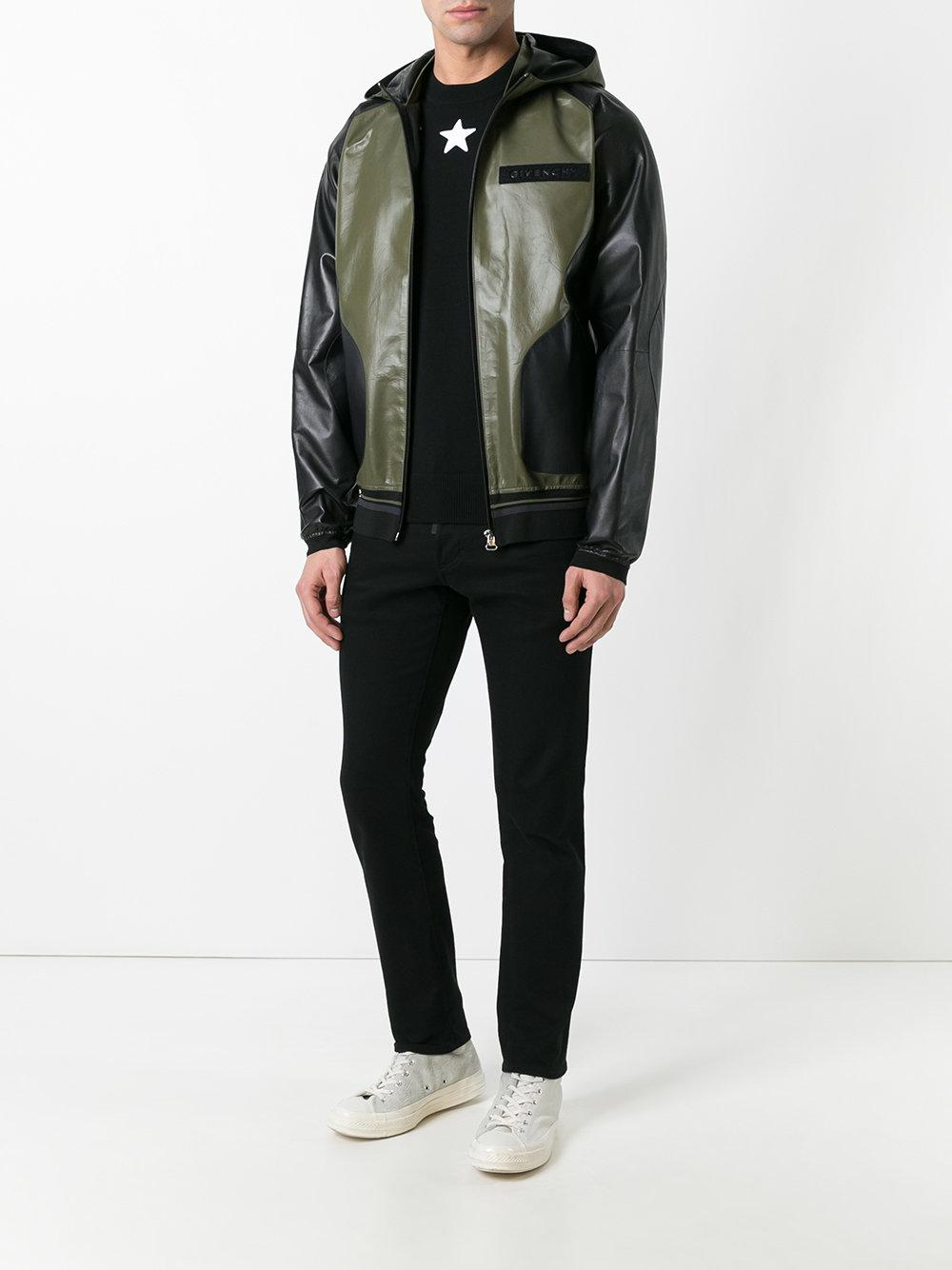 Givenchy Hooded Leather Jacket In Green For Men Lyst