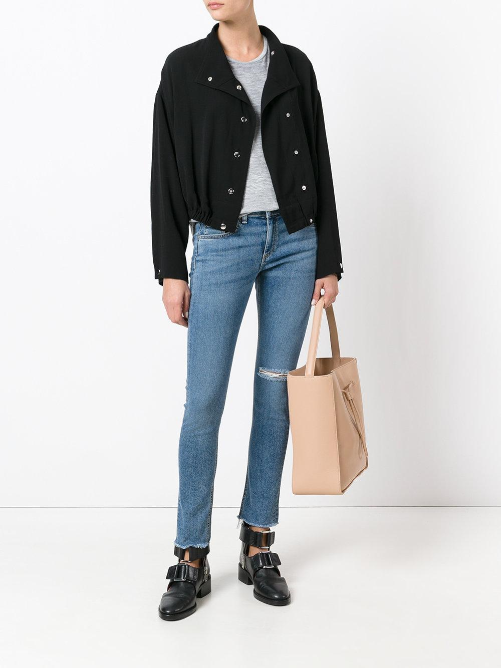 Rag & Bone Denim Frayed Hem Skinny Jeans in Blue
