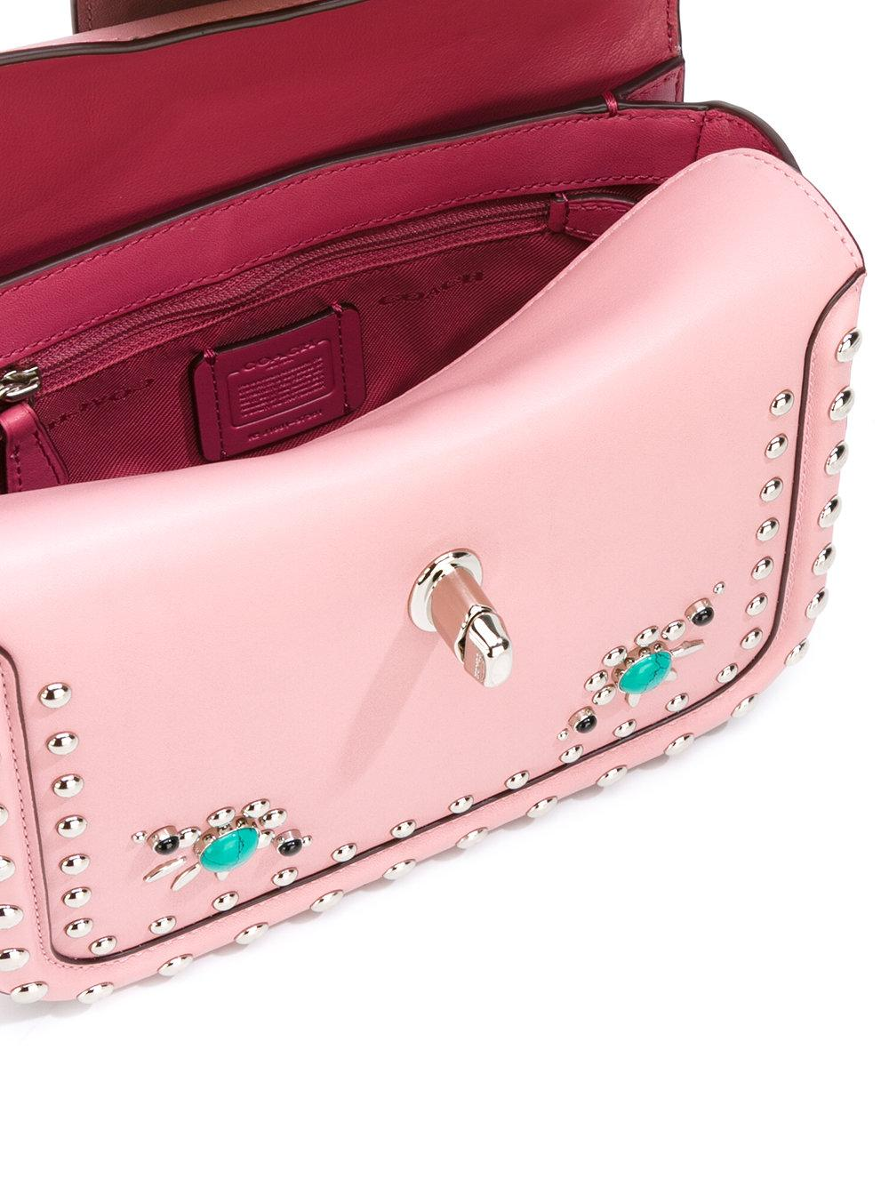 COACH Leather Studded Tote in Pink/Purple (Pink)