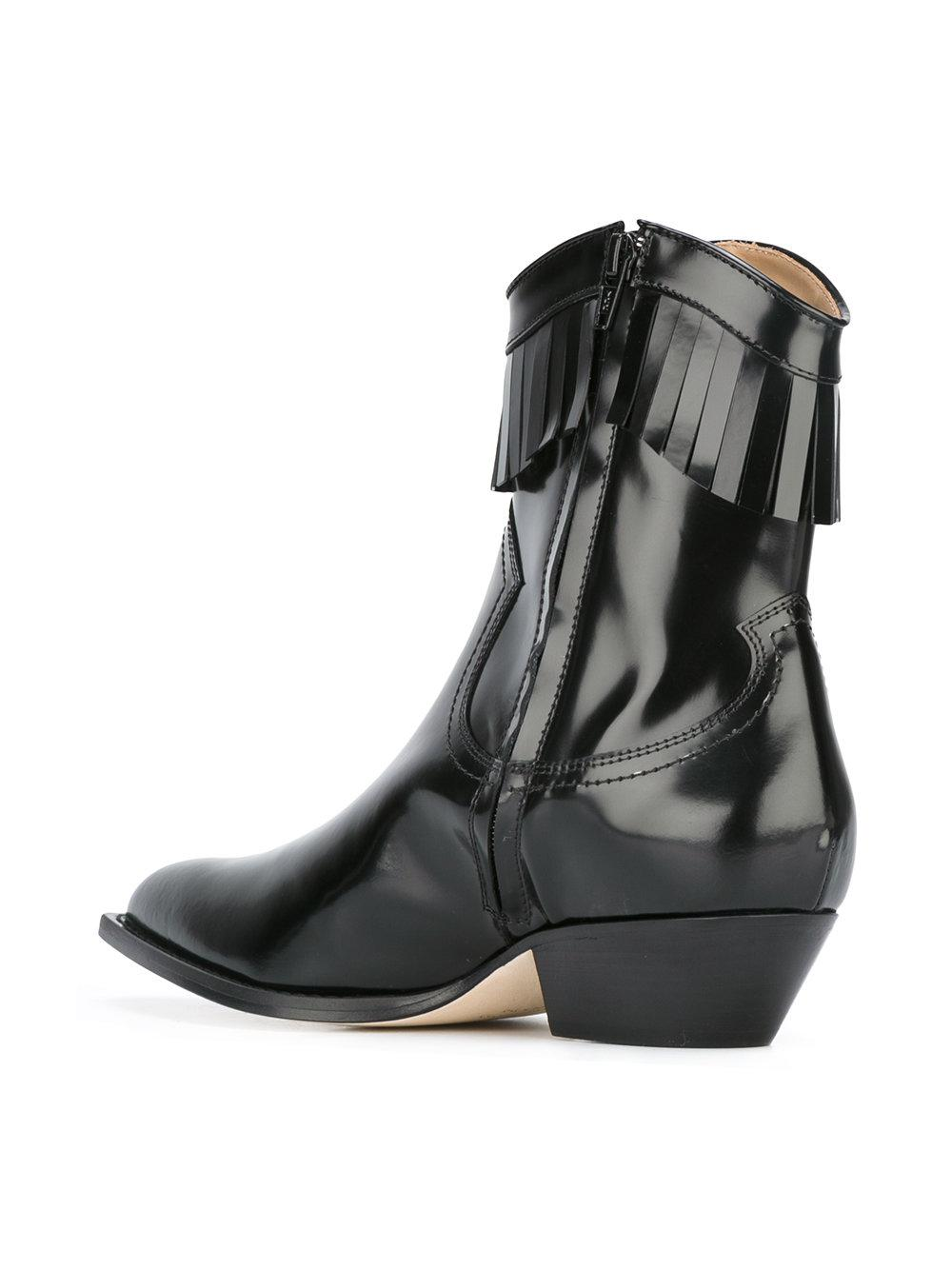 Philosophy Di Lorenzo Serafini Leather Varnished Fringe Cowboy Boots in Black