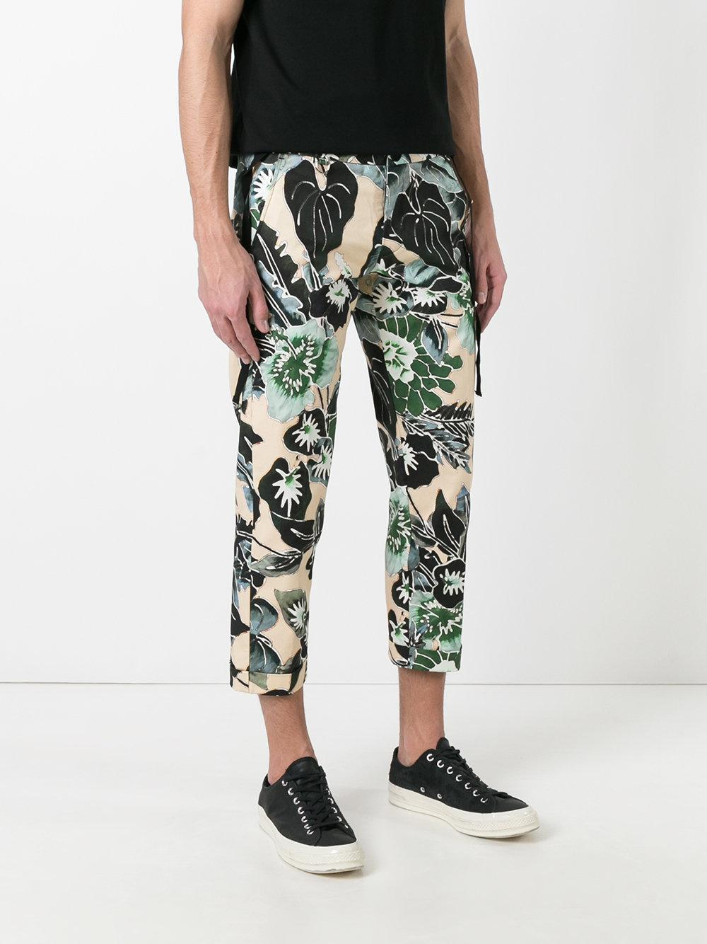 Lyst Christian Pellizzari Floral Cropped Trousers In